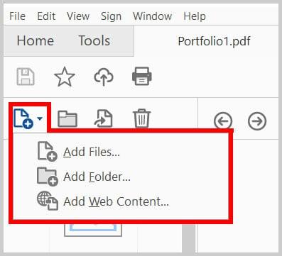 Adobe Acrobat Portfolio Navigation Pane Add Files Button