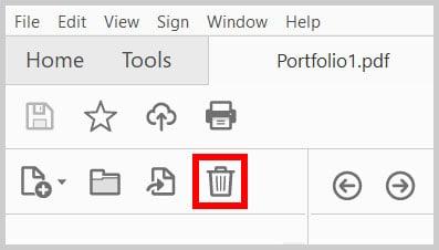 Delete Button in the Portfolio Navigation Pane in Adobe Acrobat