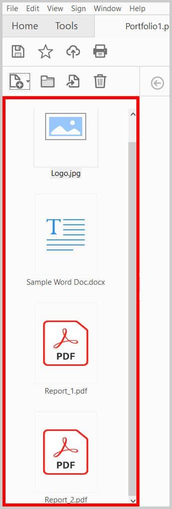 Portfolio Navigation Pane in Adobe Acrobat