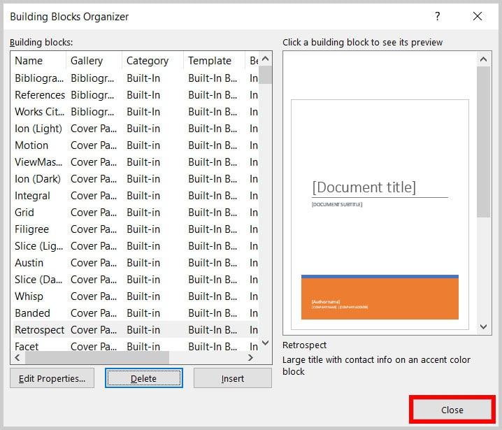 Close button in the Building Blocks Organizer Dialog Box in Word 365
