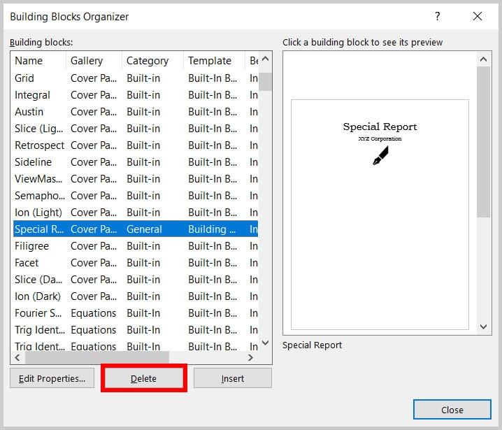 Delete button in the Building Blocks Organizer in Word 365