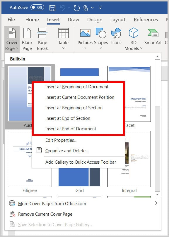 Cover page shortcut menu in Word 365
