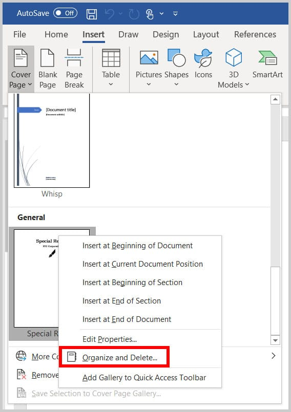 Organize and Delete option in Word 365