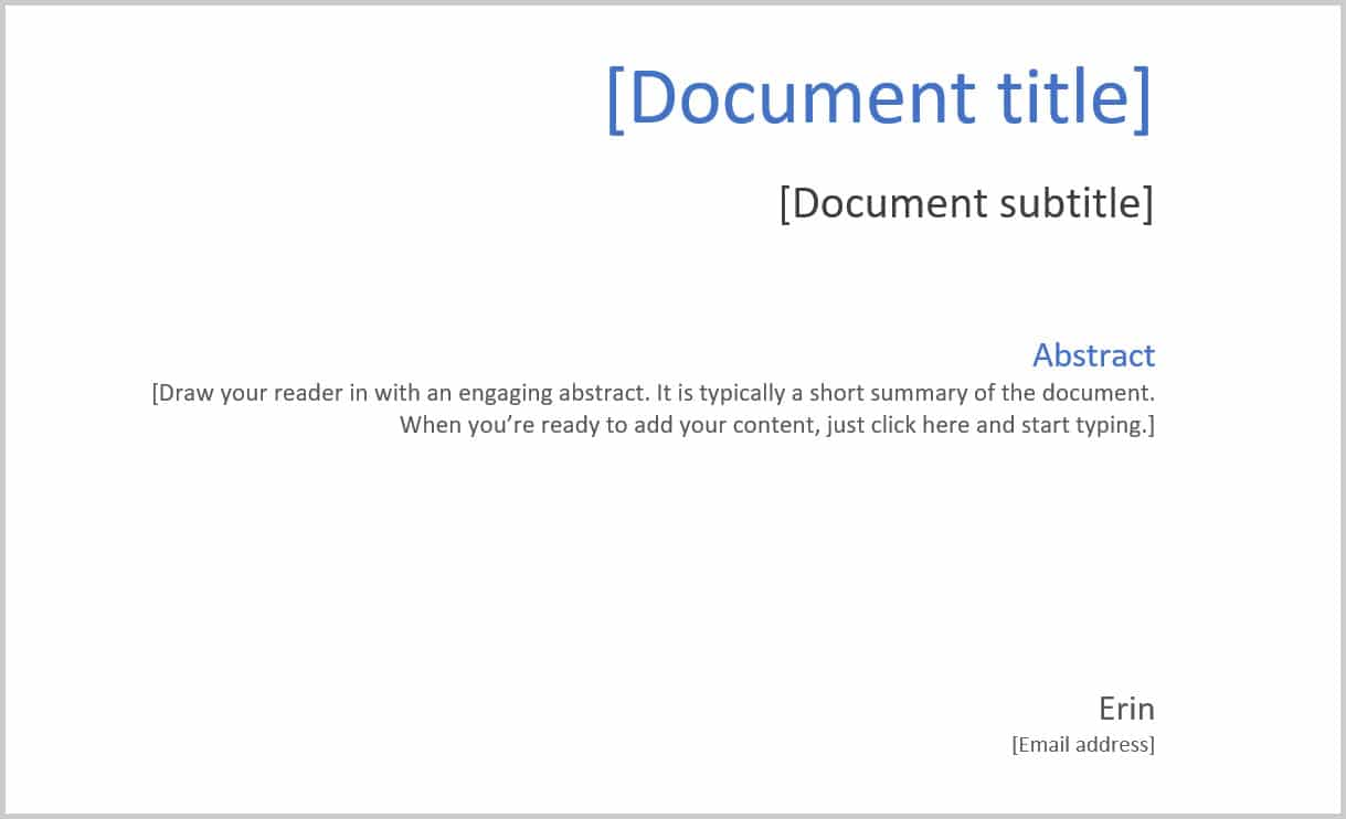 Cover page sample text in Word 365