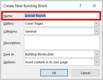Name text box in the Create New Building Block dialog box in Word 365