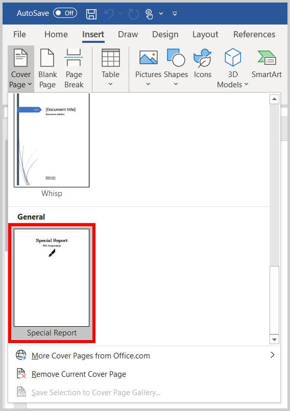 Custom cover page in the Cover Page Gallery in Word 365