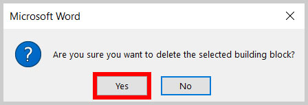 Building block question dialog box in Word 365
