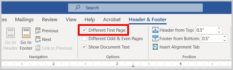 Different First Page option in Word 365