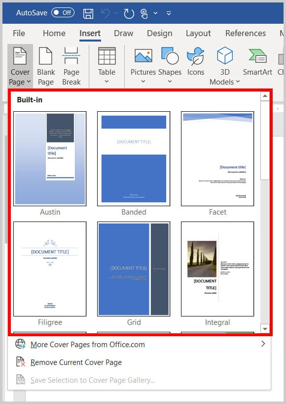 Built-In Cover Page Menu in Word 365