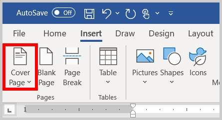 Cover Page button in Word 365