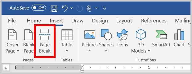 Page break button in Word 365