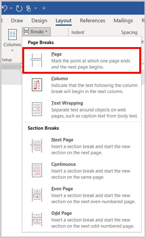 Page break option in the Breaks menu in Word 365