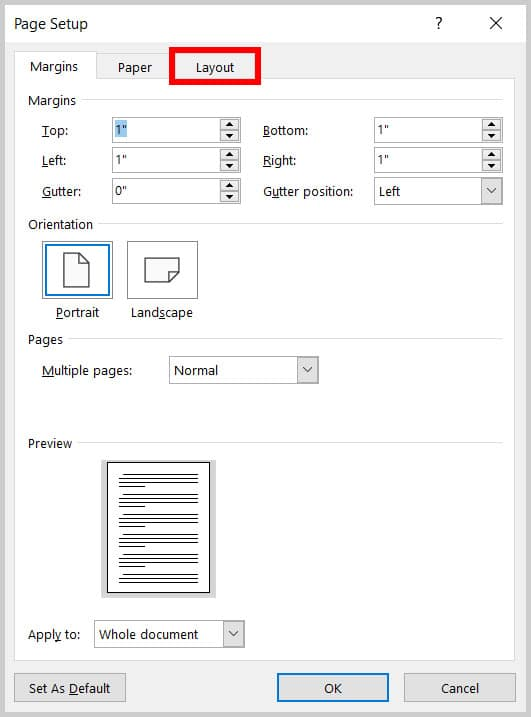 Layout tab in the Page Setup dialog box in Word 365