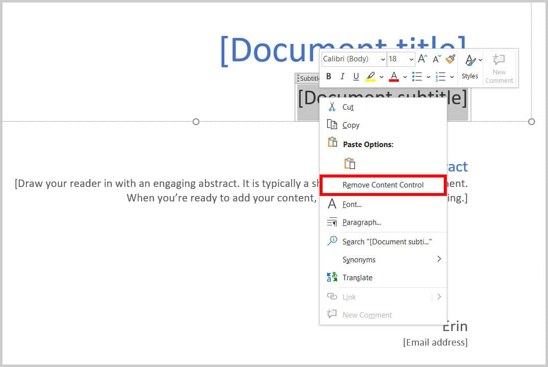 Remove Content Control option in Word 365