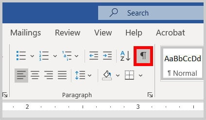 Show/Hide button in Word 365