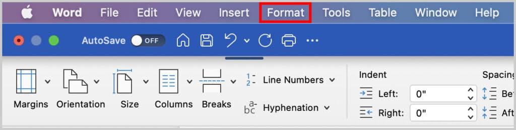 Format Menu in Word for Mac