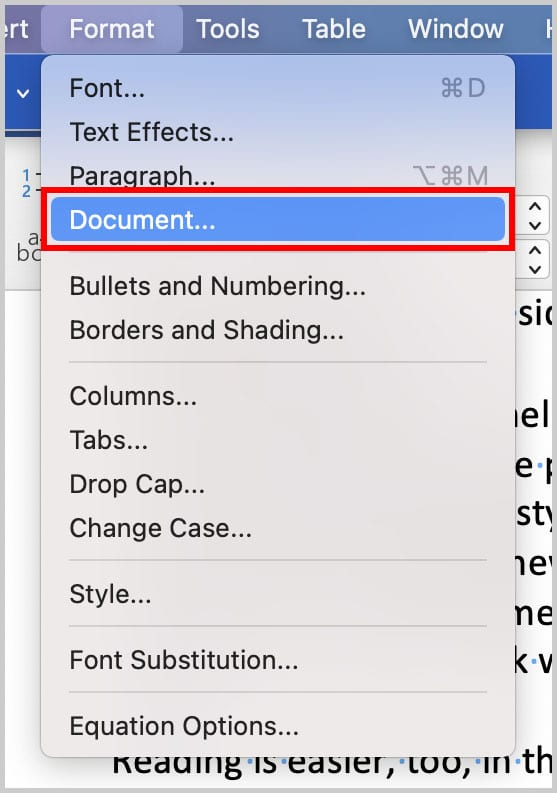 Document option in the Format menu in Word for Mac