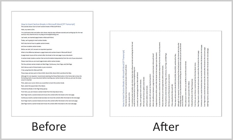 Before and after page rotation in Adobe Acrobat