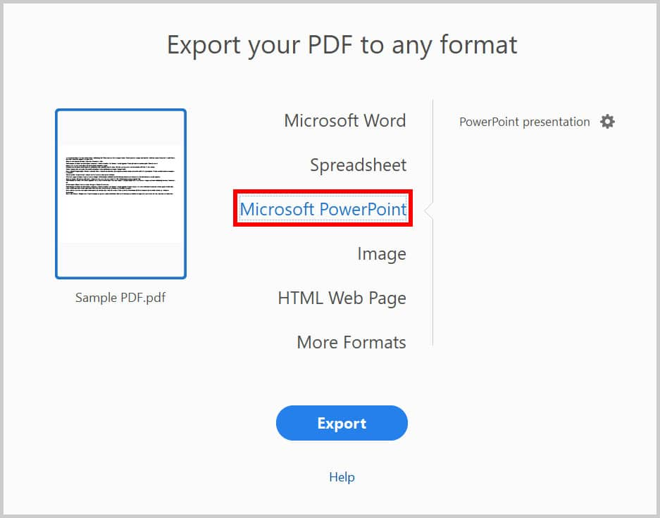 """Microsoft PowerPoint option in the """"Export your PDF to any format"""" dialog box in Adobe Acrobat"""