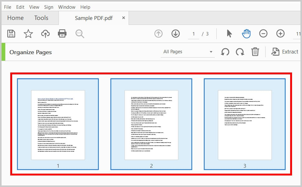 Selected pages in the Organize Pages screen in Adobe Acrobat