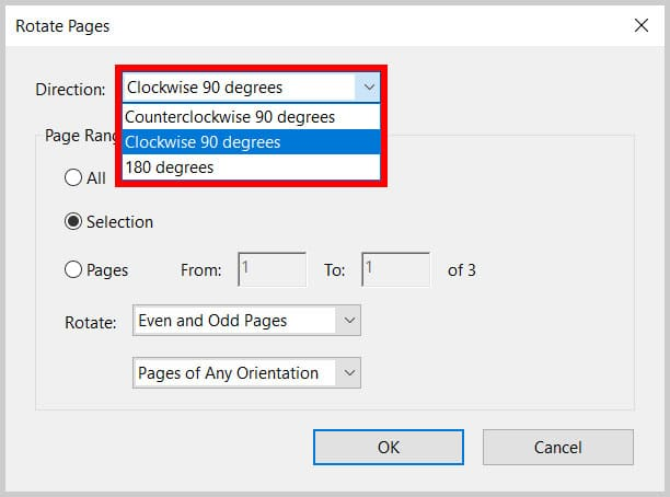 Direction menu in the Rotate Pages dialog box in Adobe Acrobat