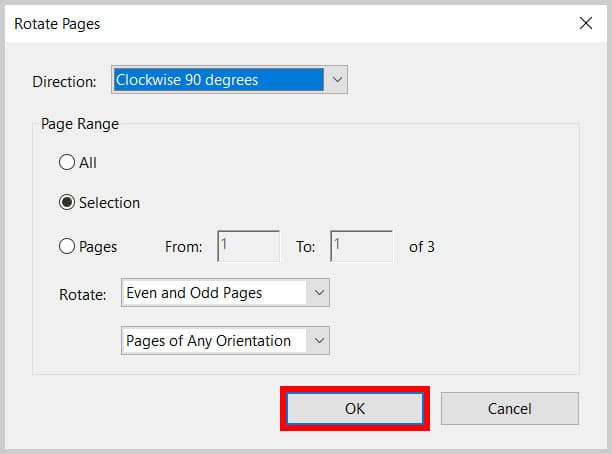 OK button in the Rotate Pages dialog box in Adobe Acrobat
