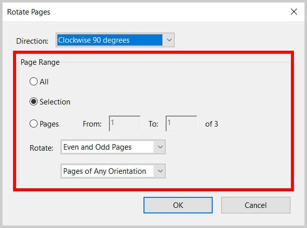 Page Range options in the Rotate Pages dialog box in Adobe Acrobat