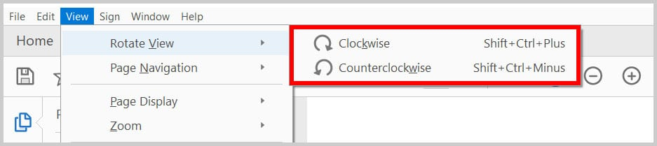Clockwise and Counterclockwise viewing options in Adobe Acrobat