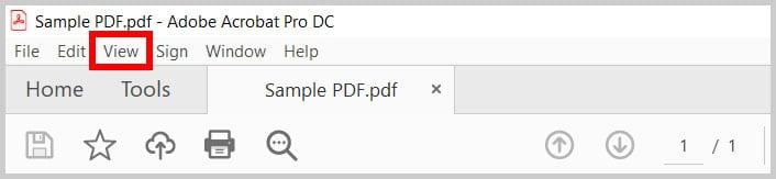 View menu in Adobe Acrobat