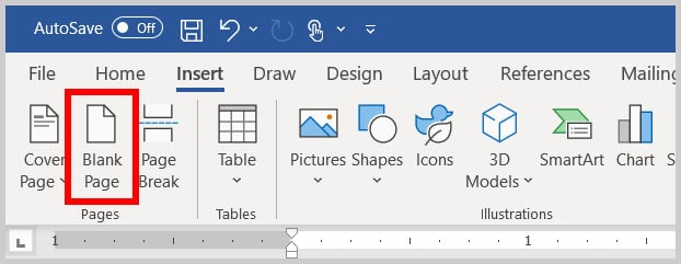 Blank Page button in Word 365