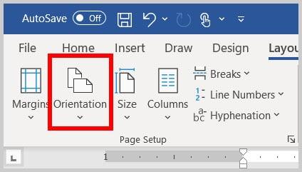 Orientation button in Word 365