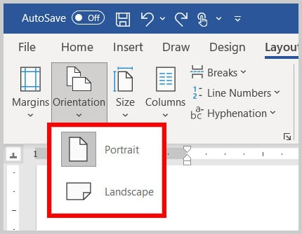 Portrait and Landscape options in Word 365