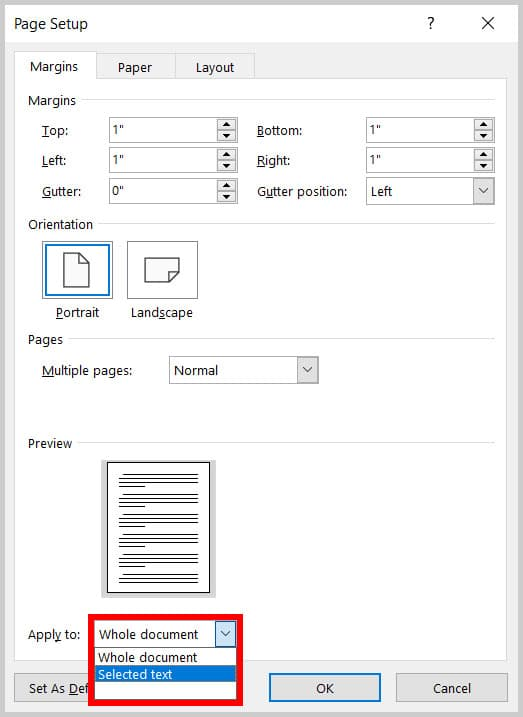 """""""Selected text"""" option in the """"Apply to"""" menu in the Page Setup dialog box in Word 365"""