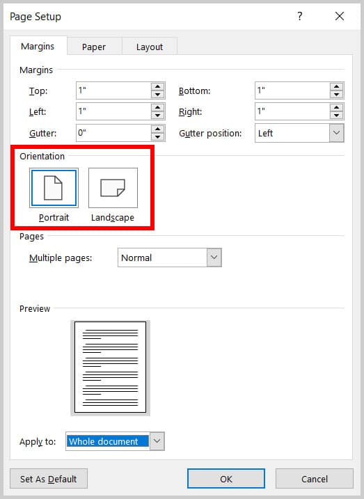 Portrait and Landscape options in the Page Setup dialog box in Word 365