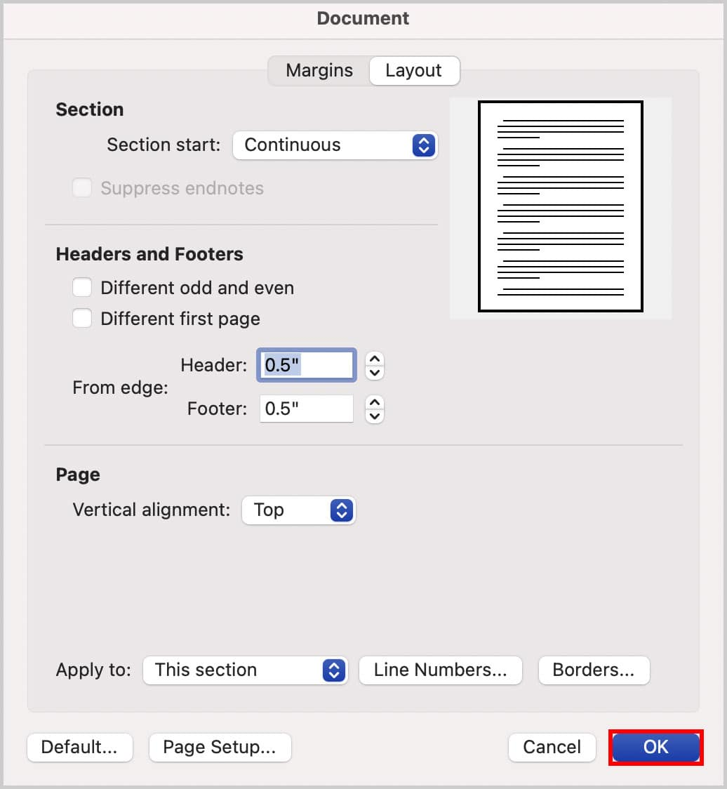 OK button in the Document dialog box in Word for Mac