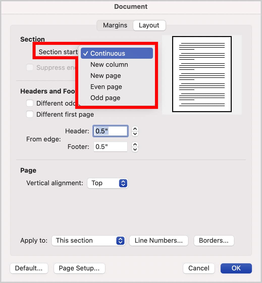 Section Start menu in the Document dialog box in Word for Mac