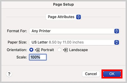 OK button in the Page Setup dialog box in Word for Mac