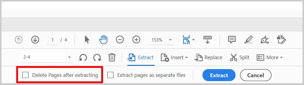 """""""Delete pages after extraction"""" option in Adobe Acrobat"""