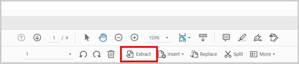 Extract Button in Adobe Acrobat