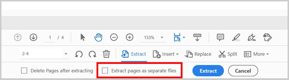 """""""Extract pages as separate files"""" option in Adobe Acrobat"""