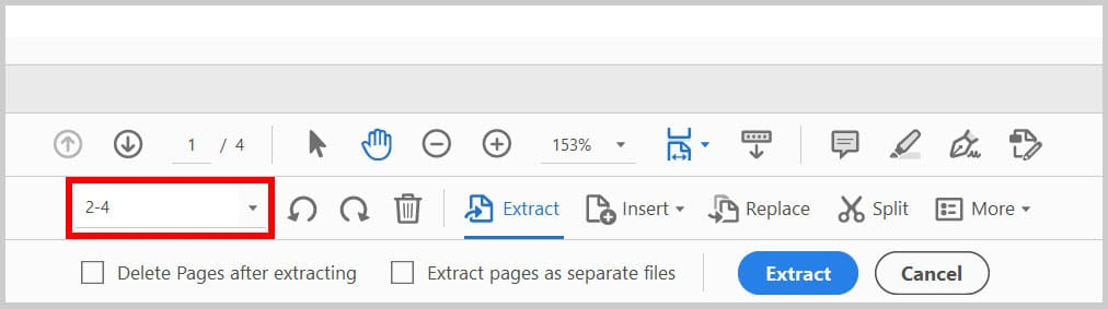 Page range in the Organize Pages toolbar in Adobe Acrobat