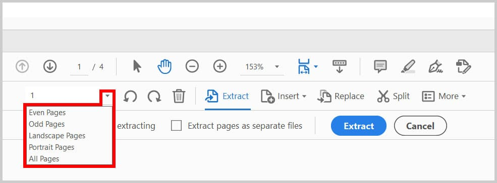 Page extract menu in the Organize Pages toolbar in Adobe Acrobat
