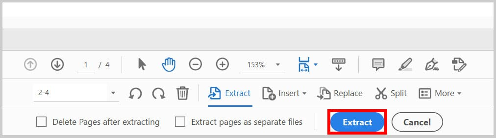 Second Extract button in Adobe Acrobat