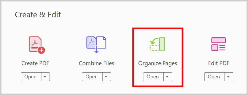 Organize Pages button in the Tools Center in Adobe Acrobat