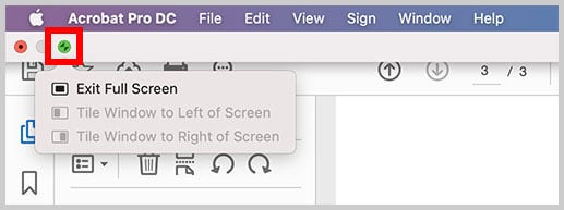 Exit Full Screen button in Adobe Acrobat on a Mac