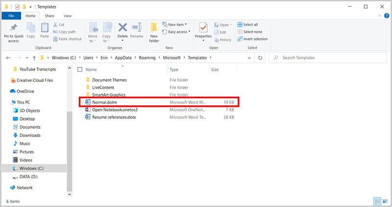 Normal.dotm file in the File Explorer
