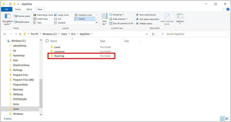 Roaming folder in the File Explorer