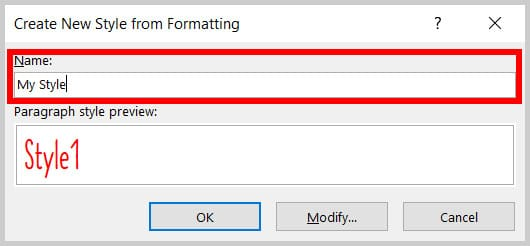 Name text box in the Create New Style from Formatting dialog box in Word 365