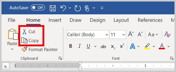 Cut and Copy buttons in the Home tab in Word 365