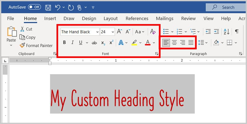 Text with formatting options from the Font and Paragraph groups in Word 365